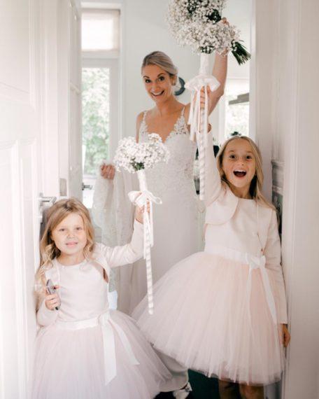 roze bruidsmeisjes bruidsmeisjes jurkjes roze tule strik bruidskinderkleding bruiloft meisjes kind kinderen meisje winkel online kopen shop webwinkel