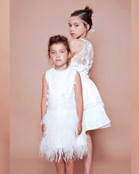 Verenjurkje jurkje met veertjes kinderen meisje bruiloft bruidsmeisje