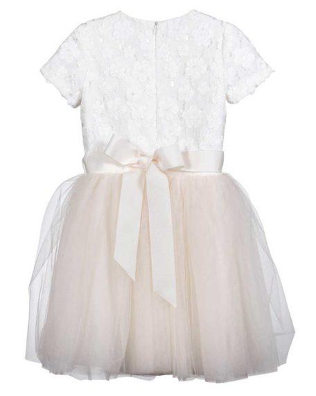 Bruidsmeisjes jurkje tule ivoor champagne bloemen kinderjurkje bruiloft communie
