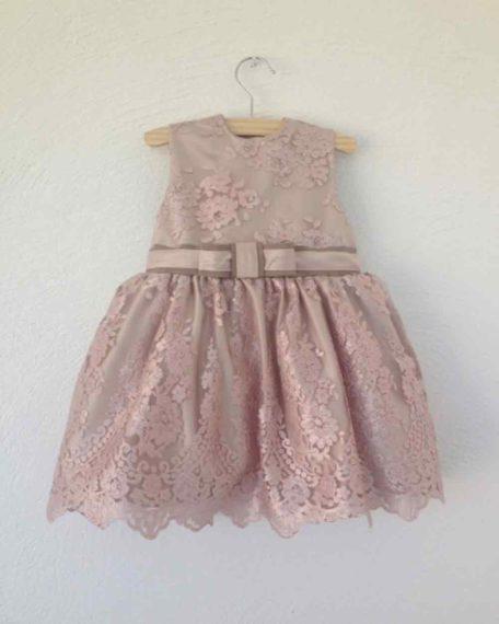 Oudroze roze jurkjes kinderjurk bruiloft trouwen kant feestjurk meisje