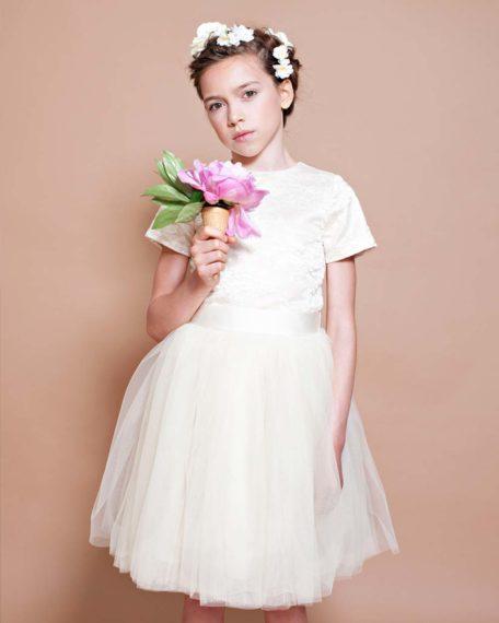 jurk tule champagne creme ivoor bruidsmeisje