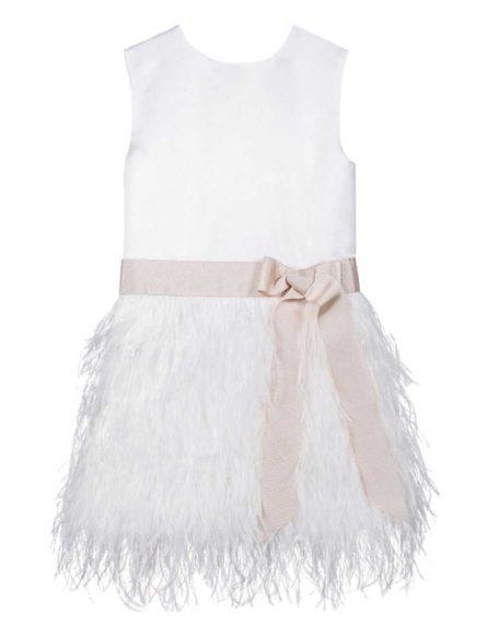 Fe ivoor blush verenjurkje veertjes jurkje bruidsmeisjes feestjurkje wit gebroken roze