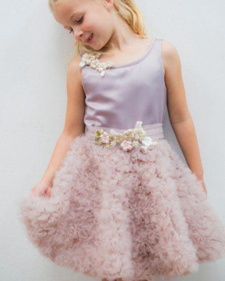 Feestjurkje bruidmeisjes jurkje roze kind meisje tule bloemen bruiloft kort