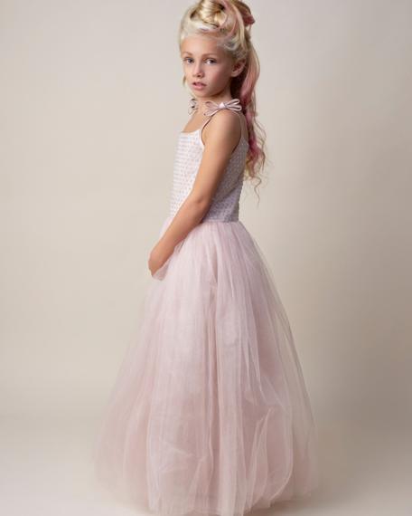 Lange jurk bruidsmeisje roze glitter