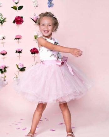 Jurk met bloemen – Jurkje Lilou – Roze