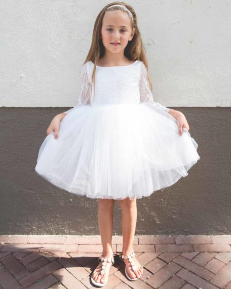 bruismeisjes jurk ivoor gebroken wit tule kant mouwen