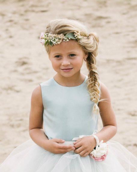 Bruidsmeisjes jurk groen mint tule korte jurk bruiloft kind meisje