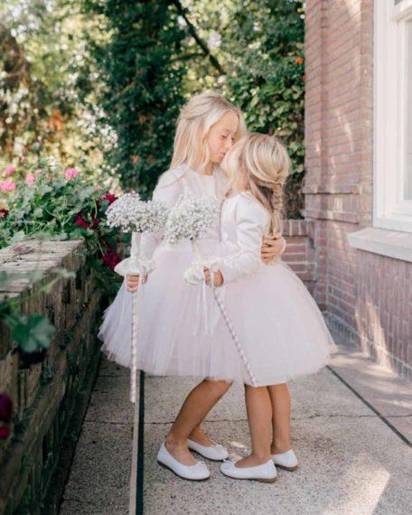 bruidsmeisjes jurkjes roze kort tule zachtroze kleedje bruiloft kinderbruidsmode kinderkleding bruiloft