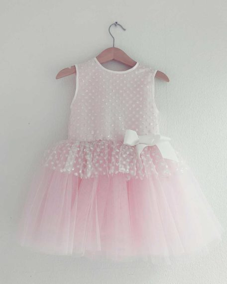 Feestjurkje roze glitter kort bruiloft verjaardag communie kleedje kinderen kind meisje