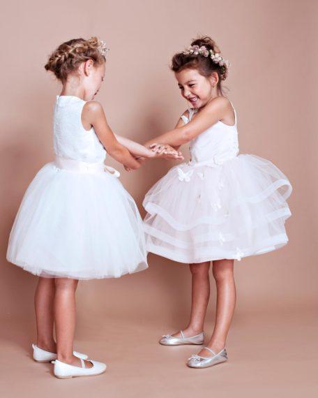 Jurkje bruidsmeisje kind meisje bruiloft feestjurk kinderen kant tule kort feestjurk roze ivoor gebroken wit