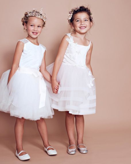 Flower girl dress child girl wedding party dress kids lace tulle short party dress pink ivory off white