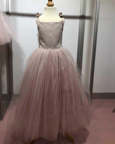Lange jurk bruidsmeisje bruiloft kleding kinderen meisjes kinderbruidsmode jurk kleed roze glitter