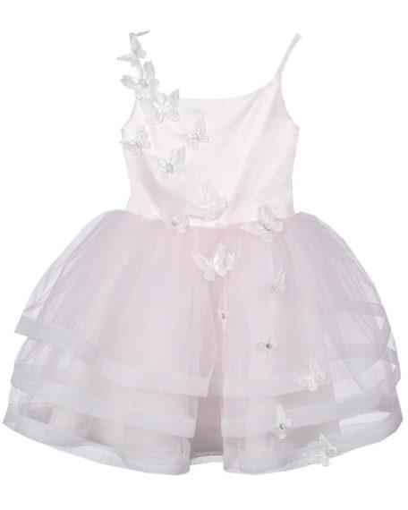 Bridesmaid wedding dress pink light pink soft pink girl butterfly