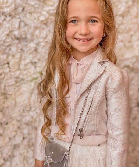 Alicia Bikerjasje kind roze wit ivoor