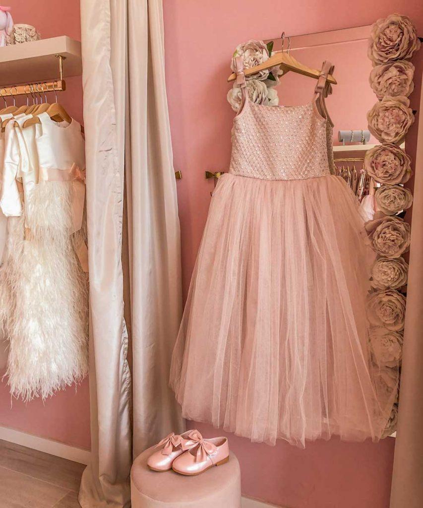 Lange feestjurk roze voor meisjes