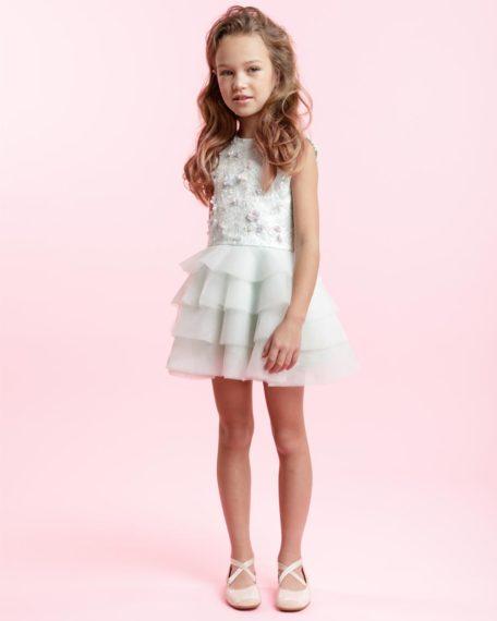 feestjurkje kinderen meisje mint roze maat 110 gelegenheidskleding kind