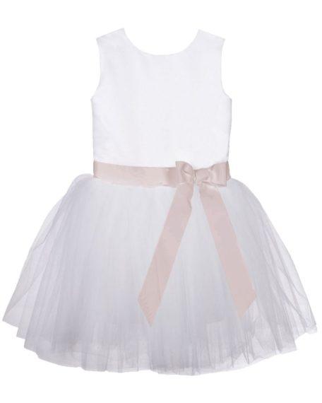 Jurk ivoor bruidsmeisje blush roze ouderoze strik kort jurk jurkje communiekleed kleedje