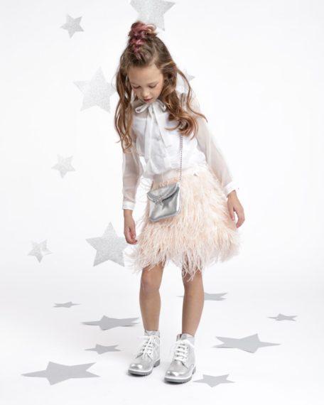 verenrokje meisje kinderen veertjes blouse wit roze kinderkleding