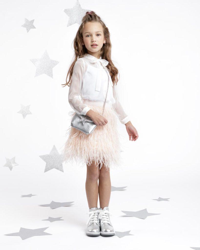 verenrokje pluimpjes veertjes rok meisje rok roze wit