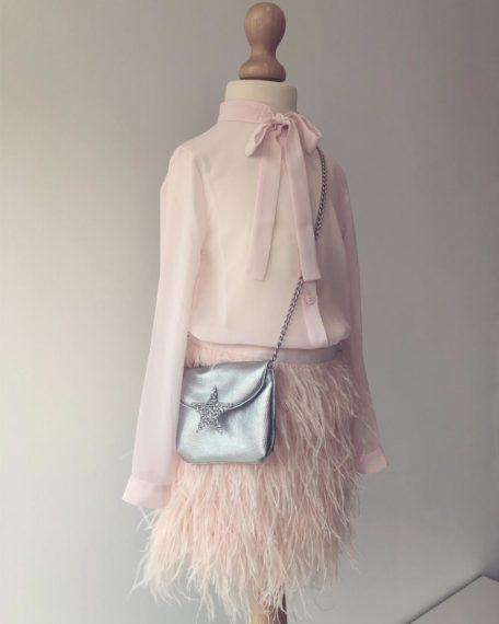 Blouse Evie roze strik chiffon kinderkleding kindermode bruidsmeisje communie communiekleding communieblouse meisje