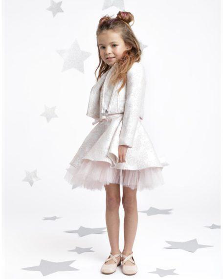 feestkleding voor kinderen brokaat wit roze-bruidsmeisje-jurkje jasje bolero bikerjasje