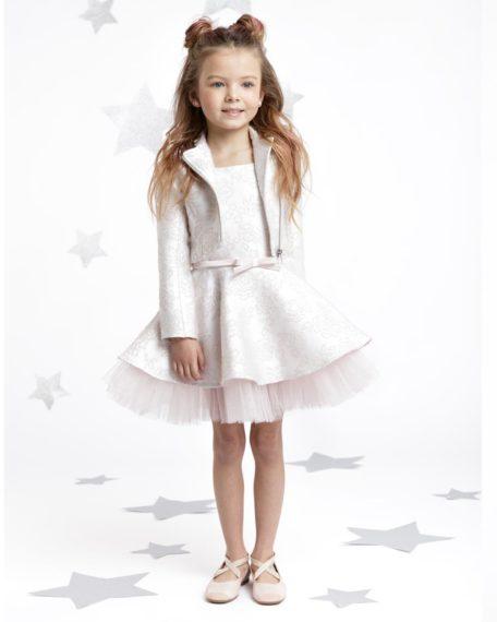 jurk met jasje kind kinderen-meisje-bikerjasje wit roze brokaat feestkleding webwinkel
