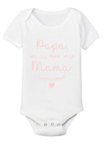 Romper – Papa, wil je met mijn mama trouwen? – Roze