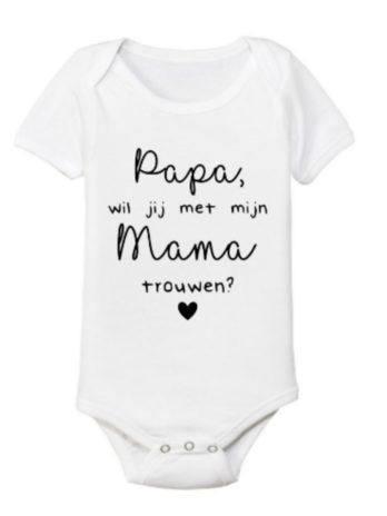 Romper – Papa, wil je met mijn mama trouwen? – Zwart