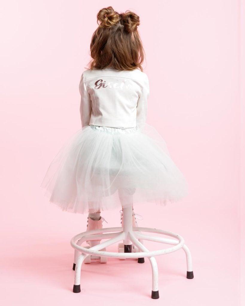 Rox jasje gepersonaliseerd met naam bikerjasje voor kinderen meisje wit gebroken wit ivoor creme