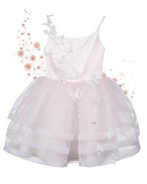 bruidsmeisjes jurk roze feestjurkje meisje meisjes kind kinderbruidsmode tule vlinder communiekleed communiejurk kinderkleding roze ivoor