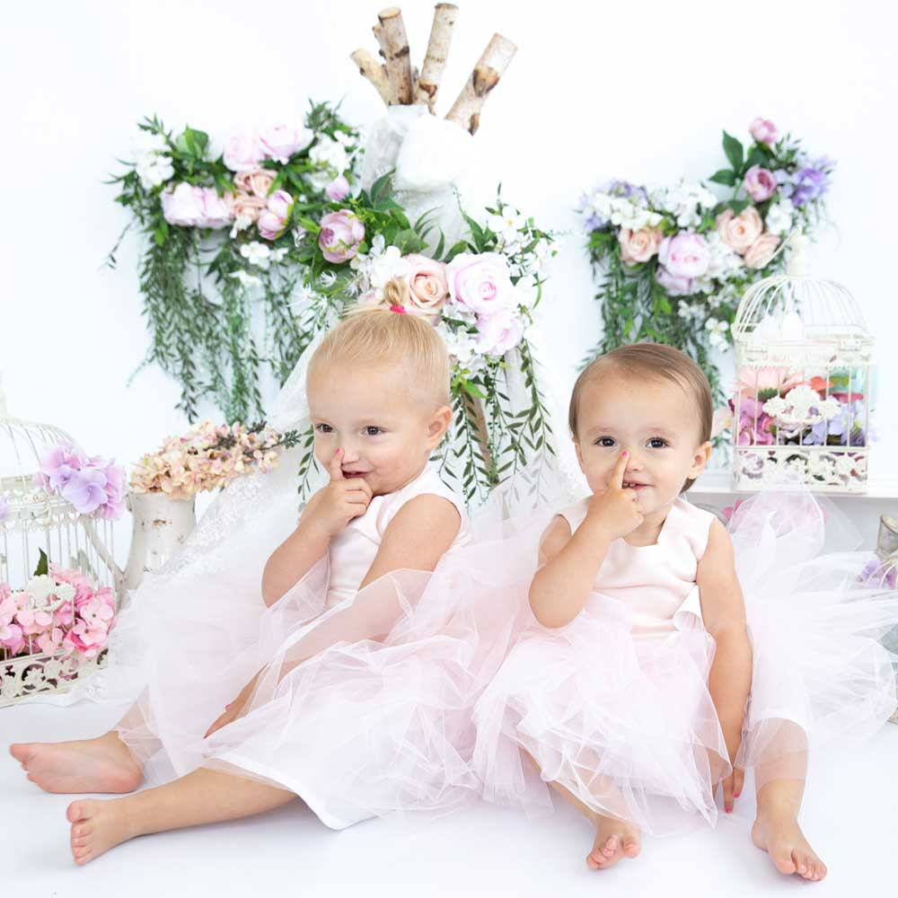 Tule kinderjurkjes roze lichtroze verjaardag bruidsmeisjes