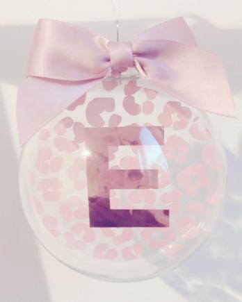 Kerstbal Panterprint met letter of naam