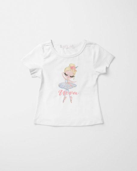 Kinder shirt met naam wit ballet
