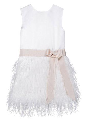 Feestkleedje met veertjes – Kleedje Fé – ivoor met blush