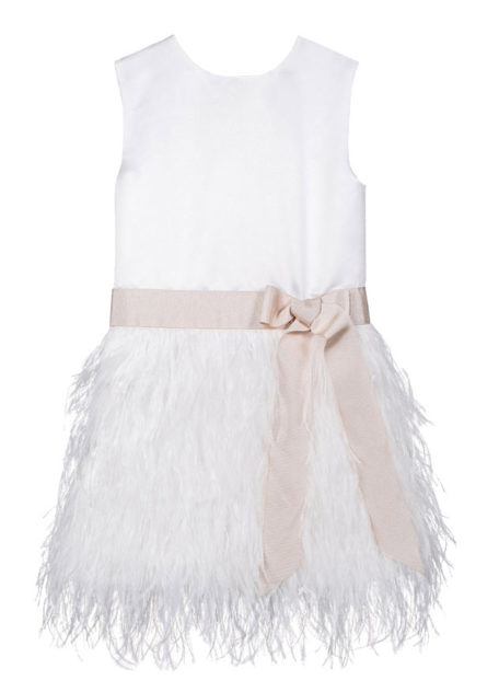 Bruidsmeisjeskleed met pluimen