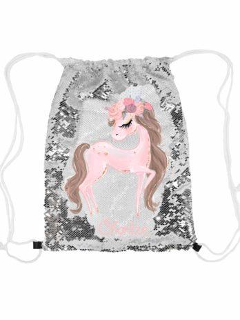 Magische pailletten rugzak zilver met naam – Paard