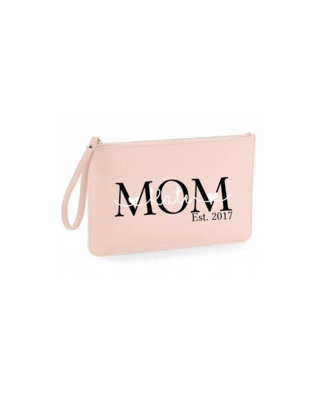 Origineel moederdagcadeau Tasje voor mama met naam make up tas gepersonaliseerd roze