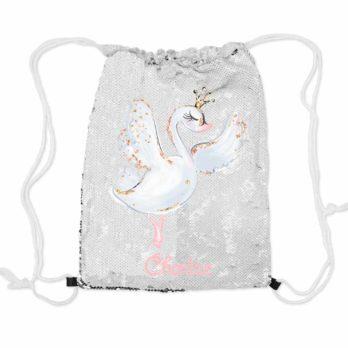Magische pailletten rugzak zilver met naam – Zwaan