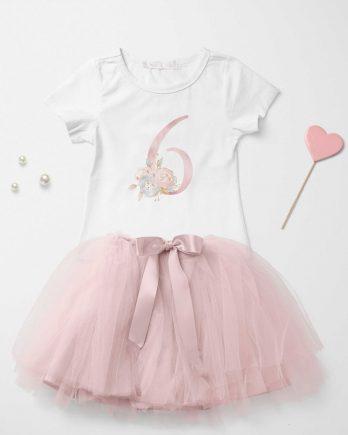 Verjaardag T-shirt voor meisjes met cijfer