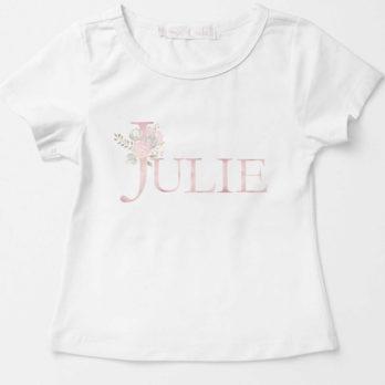 T-shirt met naam en bloemen voor meisjes