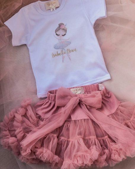 T-shirt met naam voor meisje met ballerina en oudroze tule rokje 2