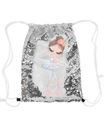 Magische pailletten rugzak zilver met naam – Ballerina Isabella