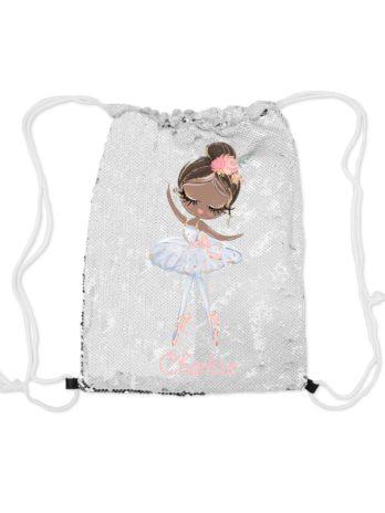 Magische pailletten rugzak zilver met naam – Ballerina Charlize