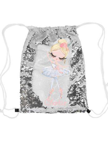 Magische pailletten rugzak zilver met naam – Ballerina Lili