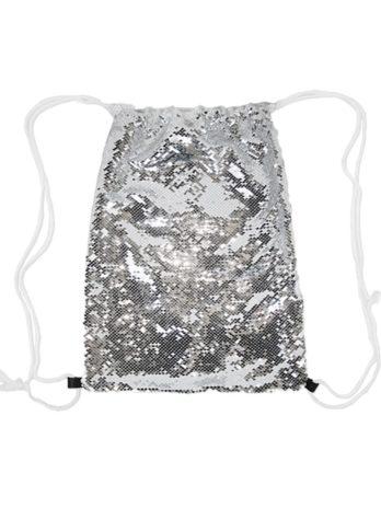 Magische pailletten rugzak zilver met naam – Zeemeermin blond haar