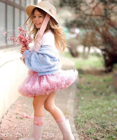 Roze tule kort rokje meisjes