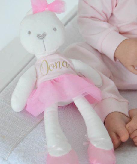 Knuffel met naam meisjes roze ballerina konijn