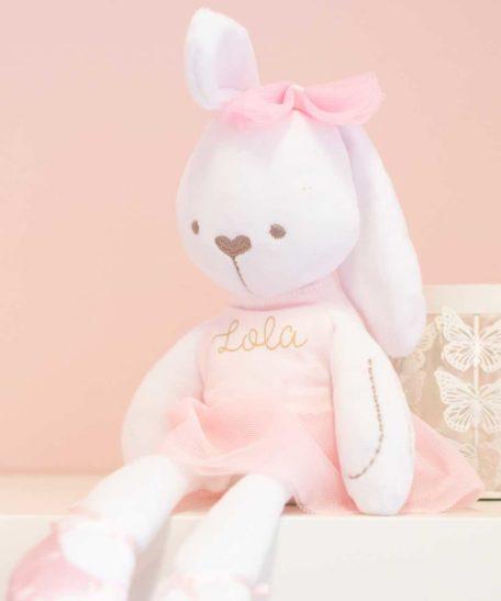 Knuffel met naam meisjes roze konijn