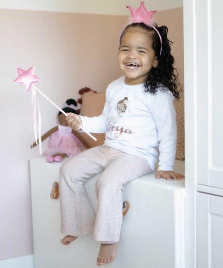 Naam T-shirt meisjes ballerina ballet roze glitter legging