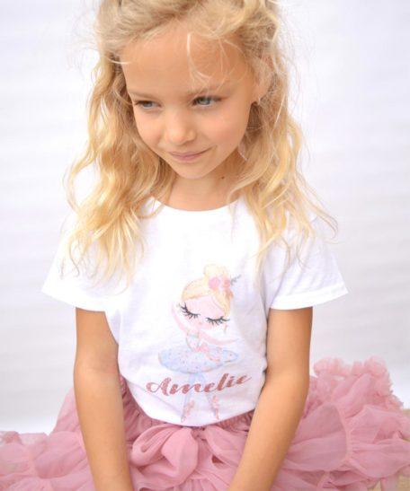 T-shirt met naam kind meisje ballerina